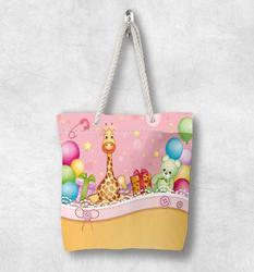Else Детские вечерние цветные шары с жирафом, новая модная белая парусиновая сумка с веревочной ручкой, хлопковая парусиновая сумка на молнии...