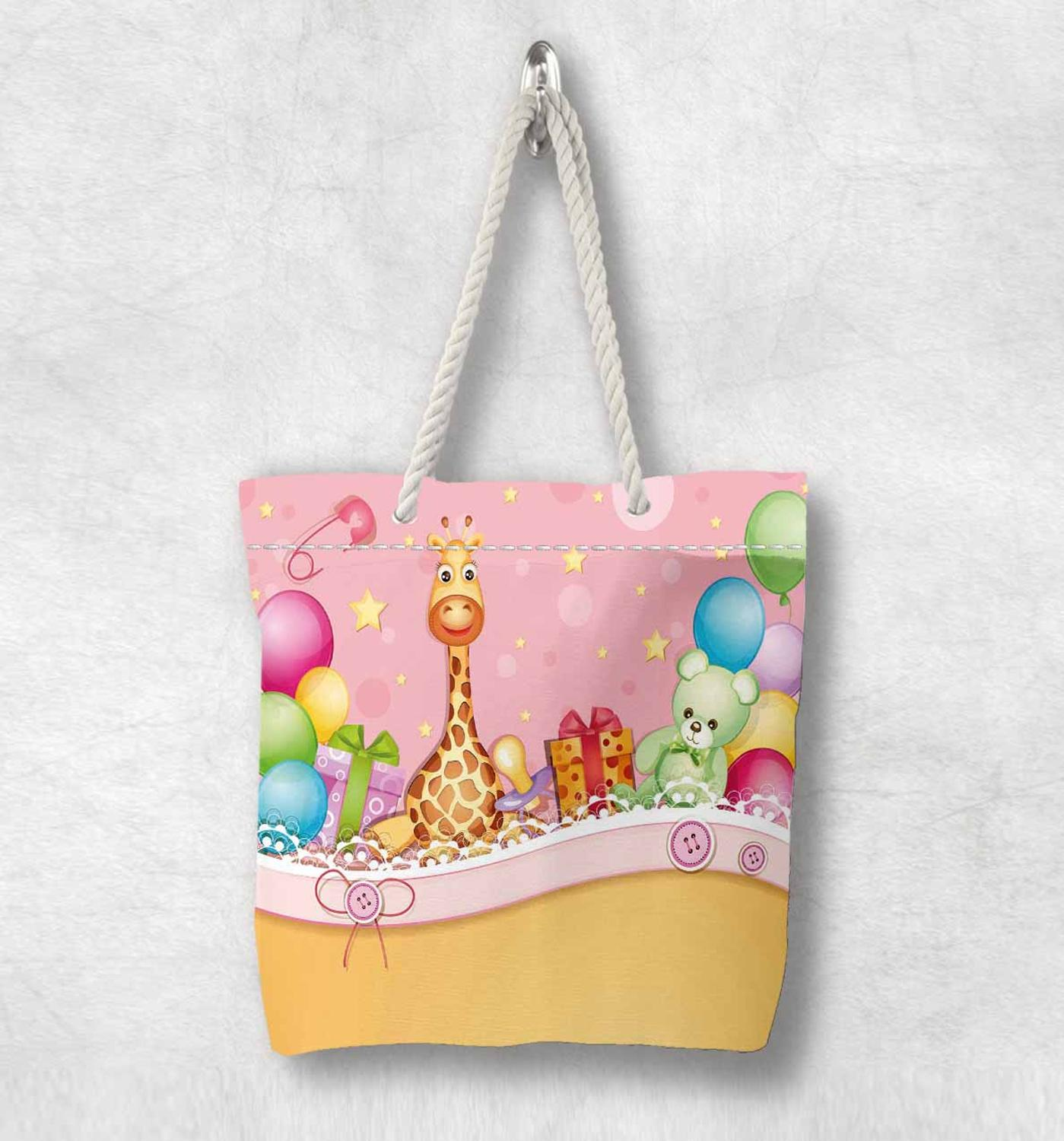 Else Baby Party Giraffe Colored Balloons New Fashion White Rope Handle Canvas Bag Cotton Canvas Zippered Tote Bag Shoulder Bag