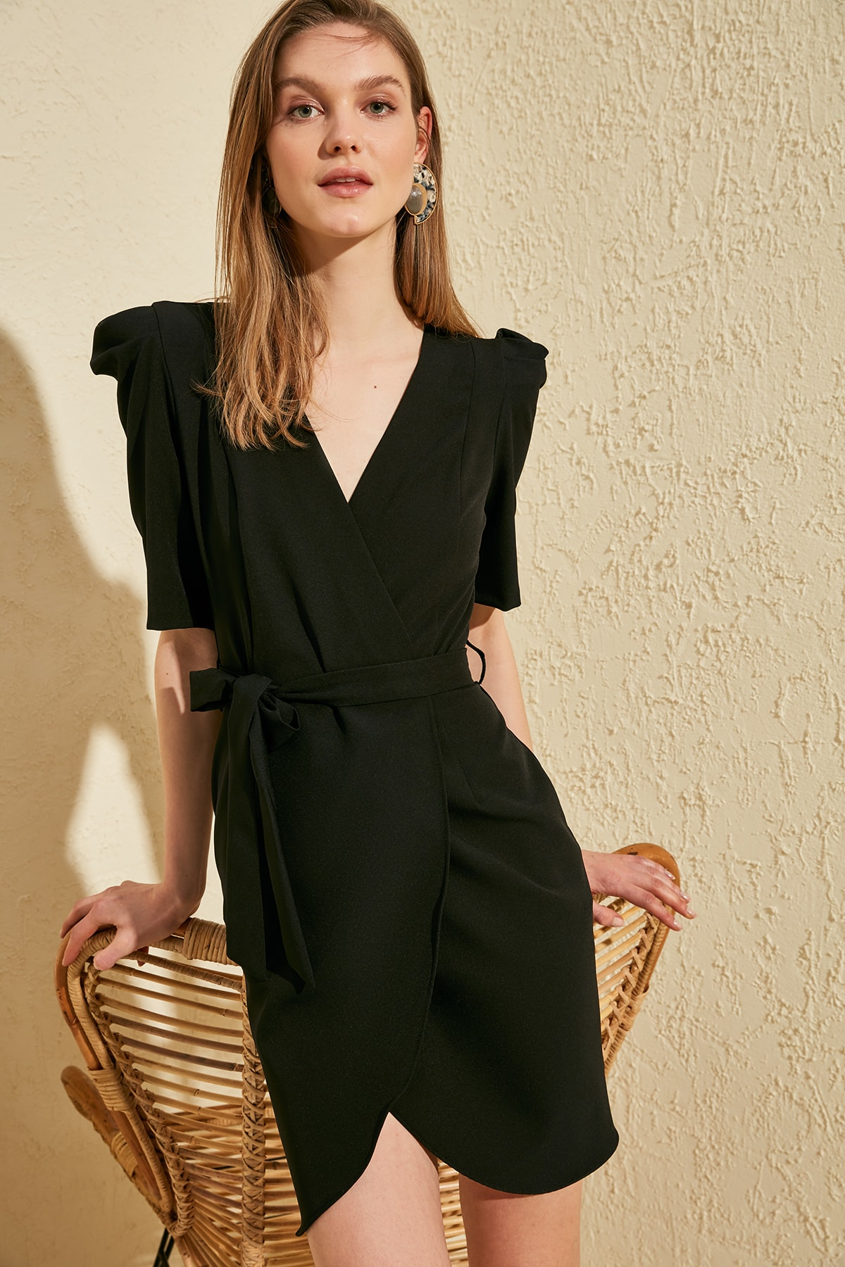 Trendyol Belted Double Breasted Dress TWOSS20EL1673