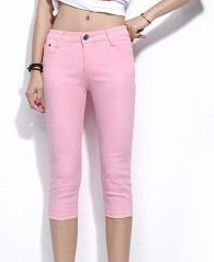 ZOUDKY Summer Women Casual Capris Jeans Trousers Female Stretch KM567