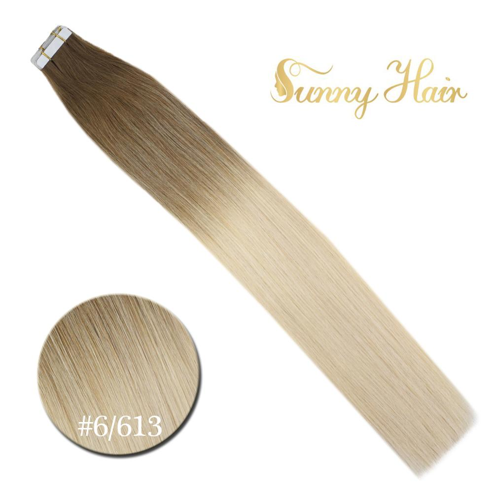 VeSunny Tape In Human Hair Extensions 20pcs Ombre Balayage Medium Brown Mix Bleach Blonde #6M613 Machine Made Remy Hair 50gr