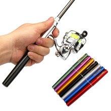 1m/1.4m bolso dobrável vara de pesca carretel combo mini caneta vara de pesca pólo kit 7 cores forma caneta dobrado haste com carretel roda