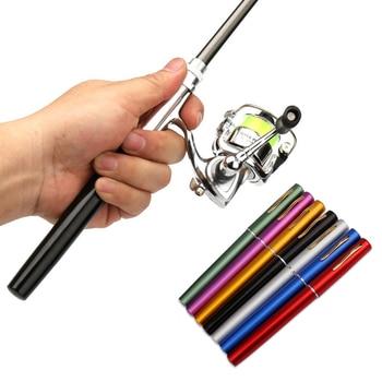 1M / 1.4M Pocket Collapsible Fishing Rod Reel Combo Mini Pen Fishing Pole Kit 7 Colors Pen Shape Folded Rod With Reel Wheel