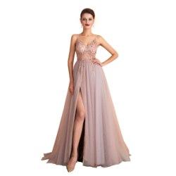 Nuevo 2020 St. Des A-line cuello en V ruso Rosa gris-azul lentejuelas sin mangas elegante longitud del piso del diseñador vestido de noche vestido de fiesta