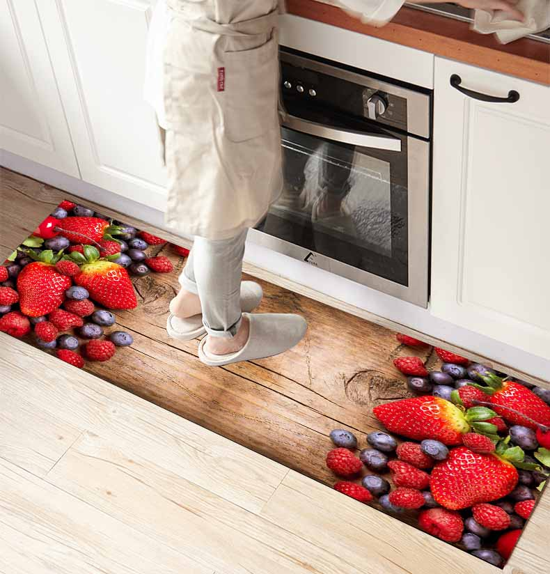 Else Brown Wood On Red Strawberry Fruits 3d Print Non Slip Microfiber Kitchen Counter Modern Decorative Washable Area Rug Mat