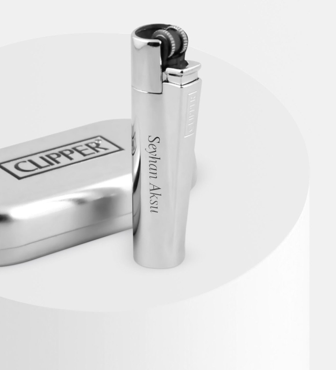 Personalized Metal Box Silver Clipper Lighter