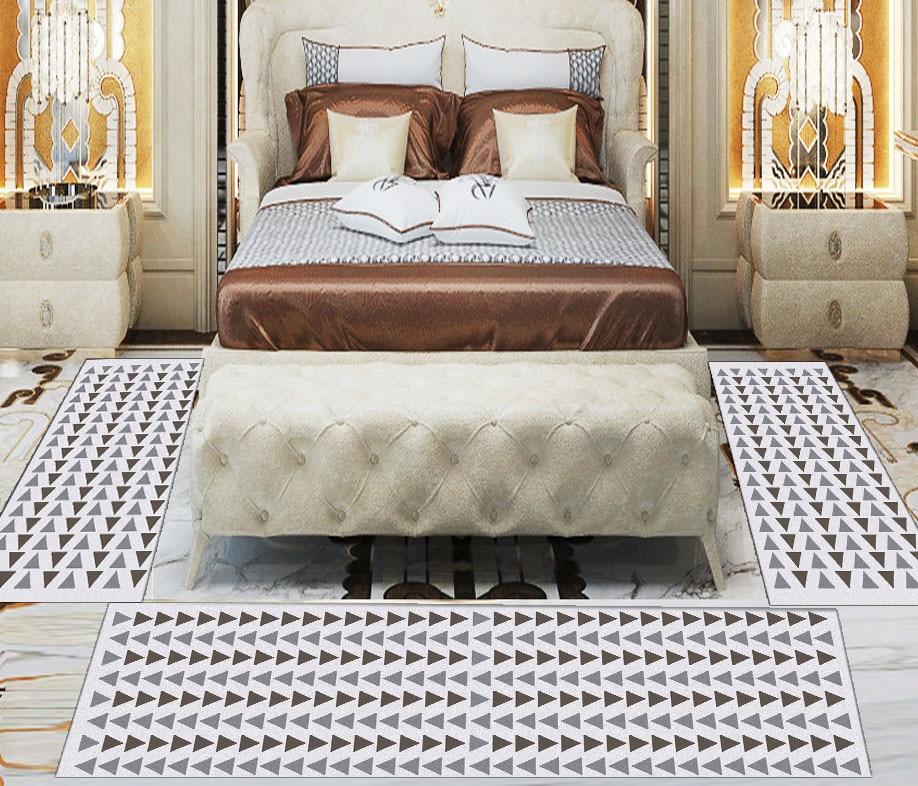 Else 3 Piece Grey Beige Arrow Geometric 3d Print Non Slip Microfiber Washable Decor Bedroom Hallway Area Rug Carpet Set