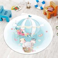 Mais elefante cinza em balões de ar flores 3d padrão impressão anti deslizamento volta tapetes redondos tapete área para crianças do bebê quarto|Tapete| |  -