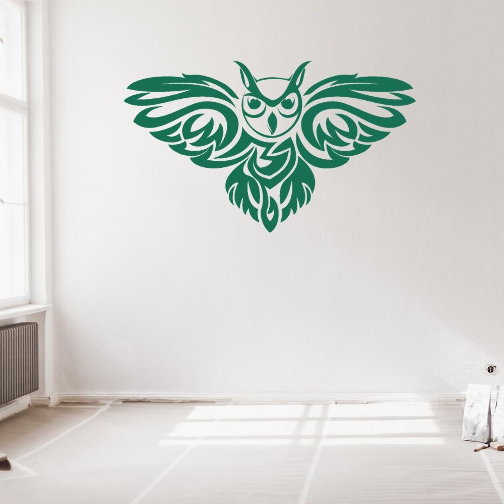 New Tribal Silhouette Flying Owl Animals Wall Art Home Bedroom And Hotel Room Decoration Removable A001253(China)