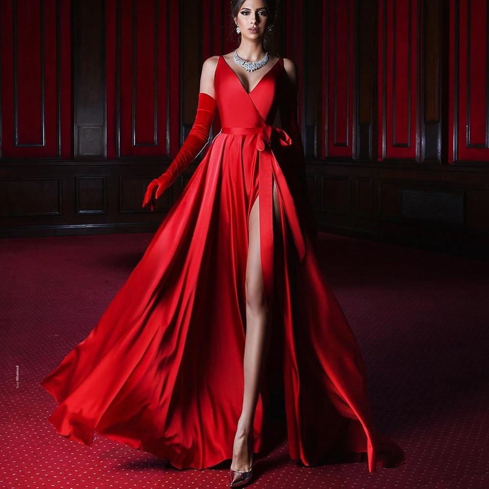 Sexy V-Neck Sleeveless Evening Dresses 2020 Side Split Stain A Line Evening Gowns Floor Length Custom Made Formal Dresses