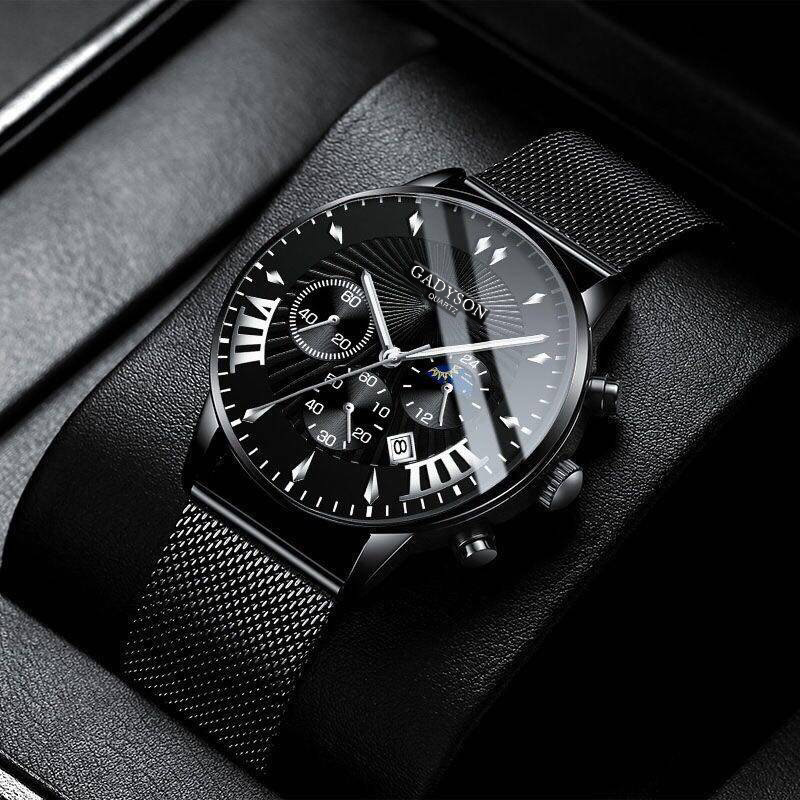 Gadyson New Fashion Mens Watches Stainless Steel Top Brand Luxury Sports Chronograph Quartz Watch Men Relogio Masculino
