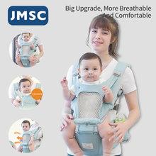 Jmsc ergonômico respirável portador de bebê infantil criança hip seat estilingue envoltório titular mochilas viagem ao ar livre canguru frente rosto primavera