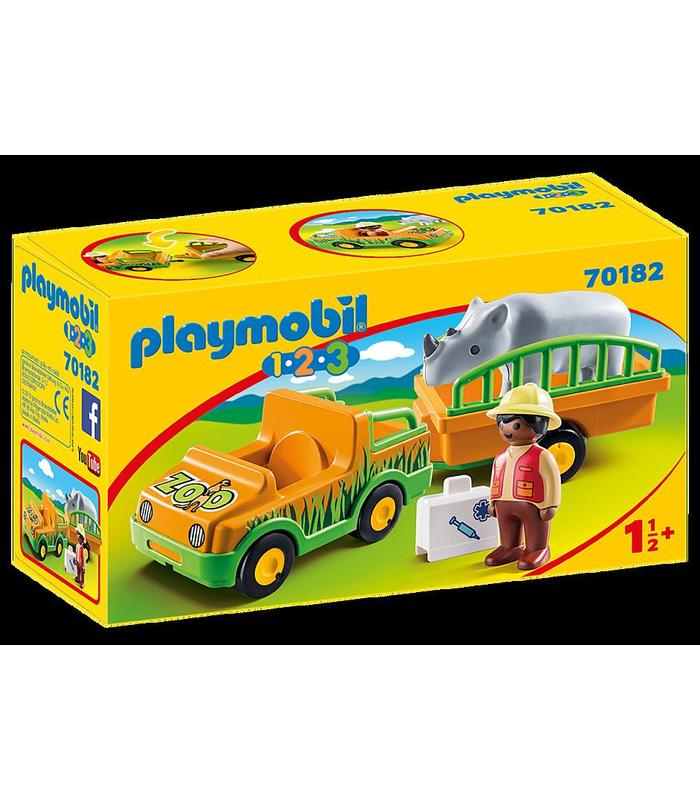 70182 Playmobil 1.2.3 Vehicle Zoo With Rhino Toy Store