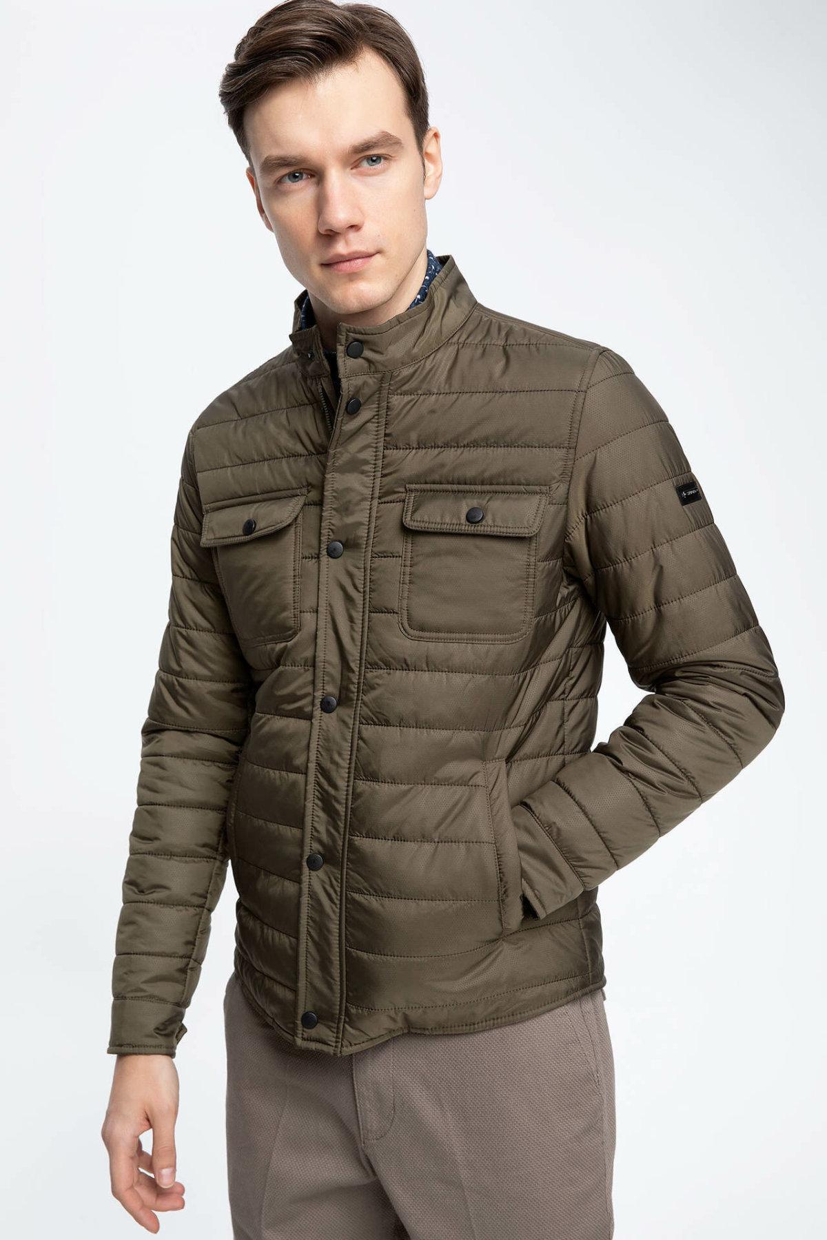 DeFacto Man Spring Cotton Coats Man Casual Army Green Thick Parka Coats Male Zipper Pockets Decors Mont Tops-J9543AZ19SP
