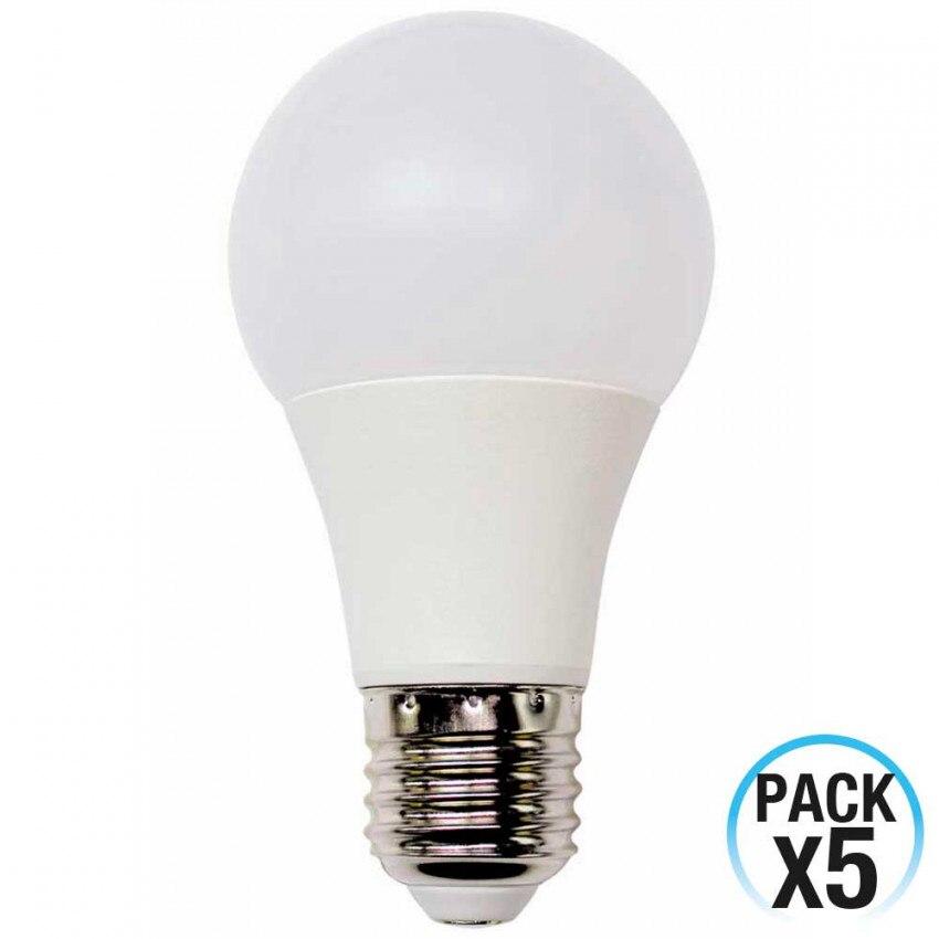 Pack 5 LED Bulbs Standard E27 9W Equi.60W 806lm 15000H