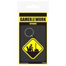 Keychain rubber Danger Gamer at Work Gaming
