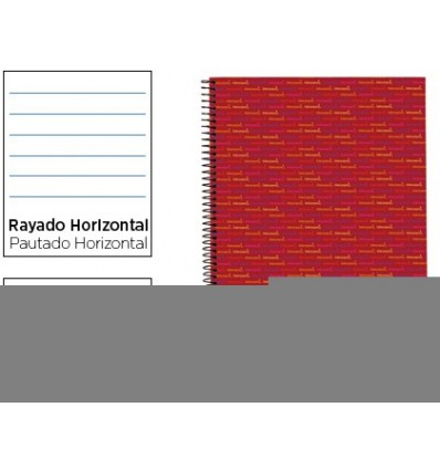 SPIRAL NOTEBOOK LEADERPAPER A4 MICRO MULTILIDER LINED TOP 140H 80GSM HORIZONTAL 5 BANDS 4 HOLES RED