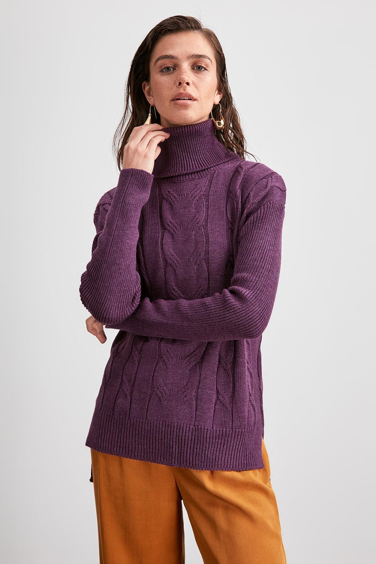 Trendyol Mesh Detailed Knitwear Sweater TWOAW20KZ0969