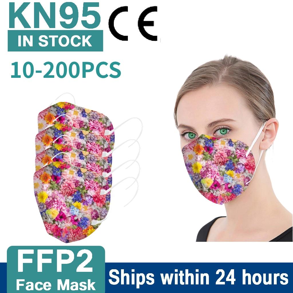 10-200 шт. Ffp2 Mascarillas Цветочный принт маска для лица для Для женщин Kn95 маски гигиеническая одобренный Ffp2 Masken 5-Слои Mascherine маска