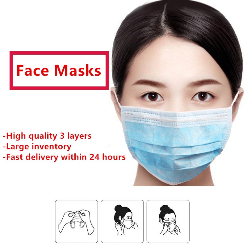 100/50/20/10 PCS In Stock Kids Adults Disposable Protective Mask To Prevention Germs Masks 3 Layer Dustproof Mask Safety Masks