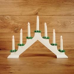 Светодиодный светильник NEON-NIGHT Новогодняя горка 28х37см с 7 свечами, цвет свечения: тёплый-белый