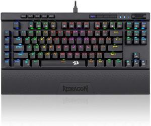Redragon K587-PRO 87 клавиш компактная RGB TKL Механическая игровая клавиатура, клавиатура с 9 встроенными макро клавишами, оптические синие переключат...