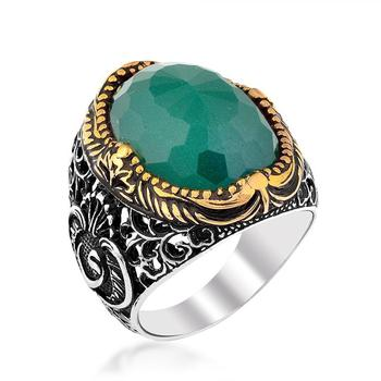 Bevel Green Color Agate Stone Vav Pattern Silver Ring