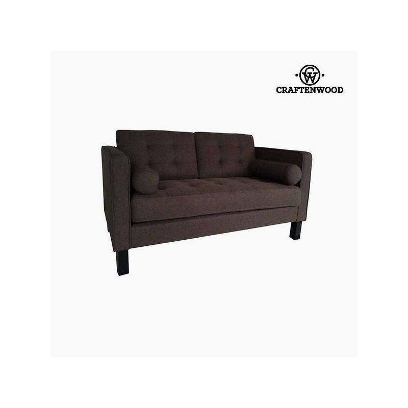 2 Seater Sofa Pine Wood Brown Polyester (149x81x81 Cm) By Craftenwood