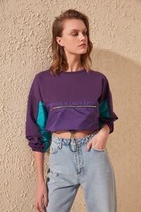 Trendyol With Color Block Crop Knitted Sweatshirt TWOSS20SW0168