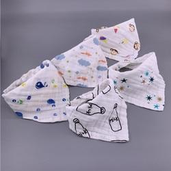5pcs/lot Musiln Cotton baby bibs 4 layers Girls Boys Babador Bandana Bibs Bebe Triangle Feeding Burp Cloth Bebe Collar Scarf
