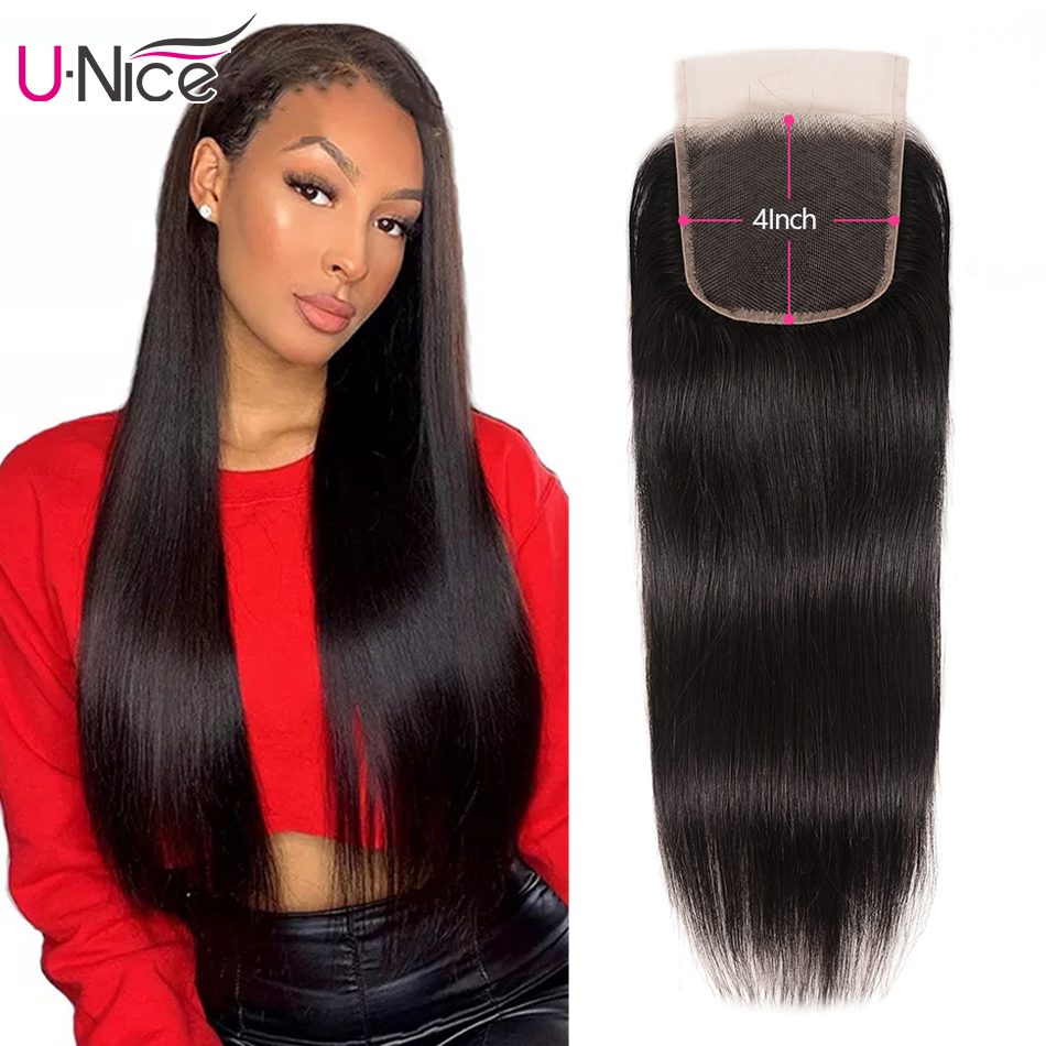 UNice Hair Peruvian Straight Hair Lace Closure Free& Middle Part 4x4 Remy Human Hair Closure 5x5 HD Lace Closure 1PC