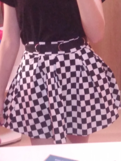 Sweetown Korean Fashion Checkerboard Pleated Skirts Womens Sashes High Waist Zipper Cotton Short Skirt Woman Summer Skirts photo review