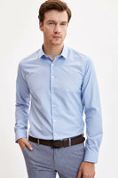 DeFacto Men Formal Business Blue Top Shirt Long Sleeve Smart Casual Fit Office Turn down Collar Shirt High Quality L5281AZ19AU