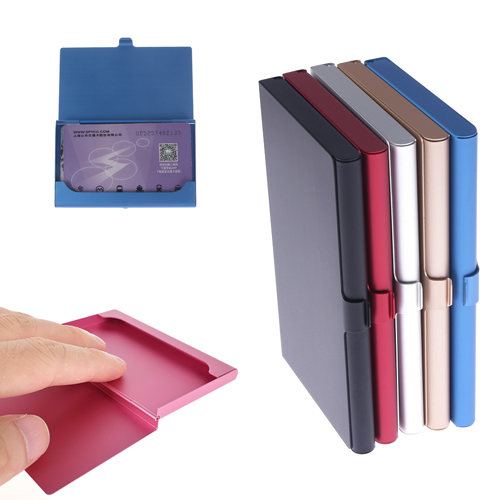 Funda de tarjeta de negocios creativa de acero inoxidable, caja de Metal de aluminio, billetera de identificación de crédito, 1 Uds.