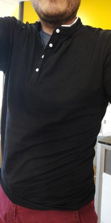 T-Shirt hommes coton manches longues col Mandarin