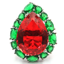 29x22mm 9.0# Classic Created Red Blood Ruby Green Emerald Woman's Present Silver Rings