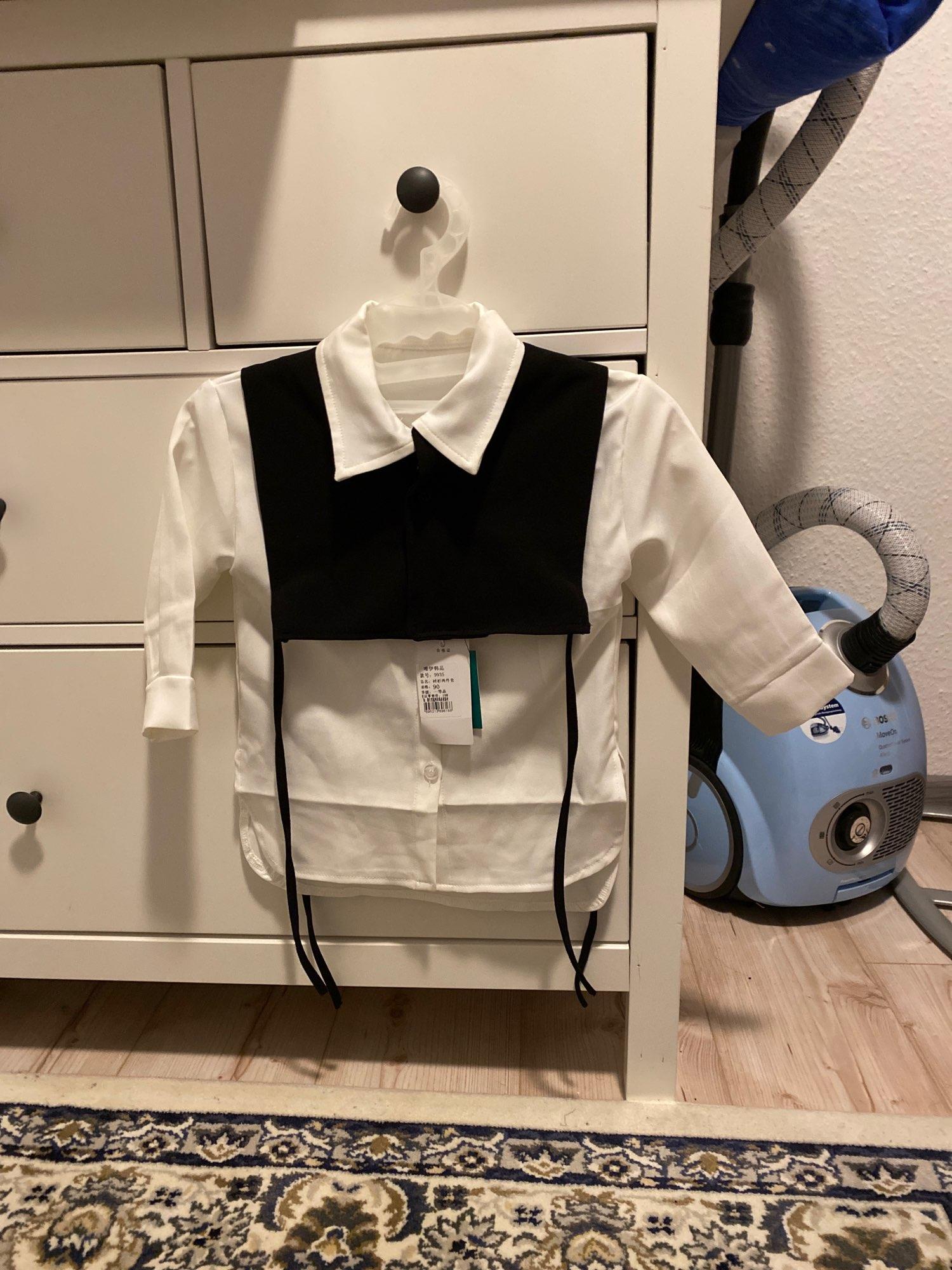 Gooporson Fashion Korean Loose Little Girls Long Sleeve Shirt Two Piece Set Blouse Cute White Long Tops Autumn Children Costume photo review