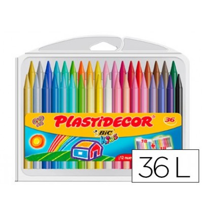 Pencils WAX PLASTIDECOR BOX 'S 36 COLORS