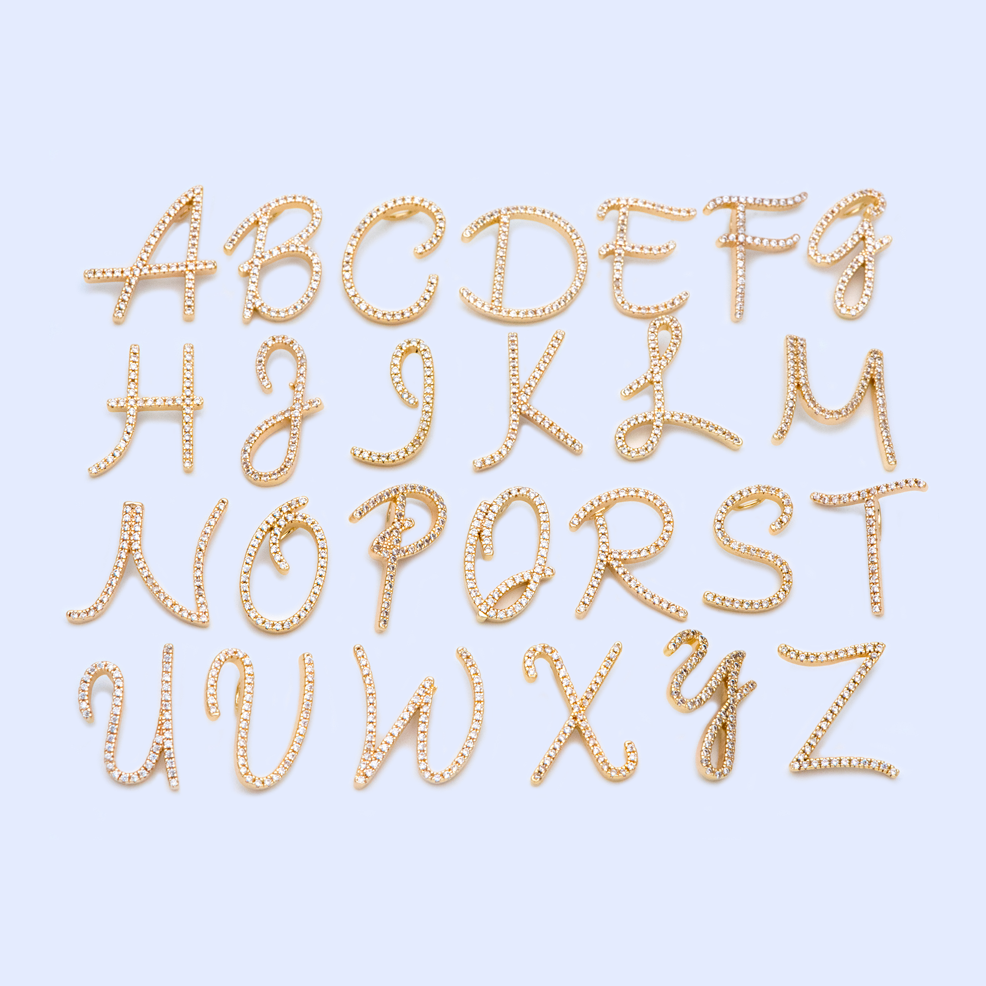 CZ Paved Gold Alphabet Pendants, 18K Gold Plated Brass, English Letter Charm, You Choose Letter (GB-1140)