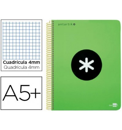 SPIRAL NOTEBOOK LEADERPAPER A5 ANTARTIK HARDCOVER 80H 100 G BOX 5MM MARGIN GREEN FLUOR