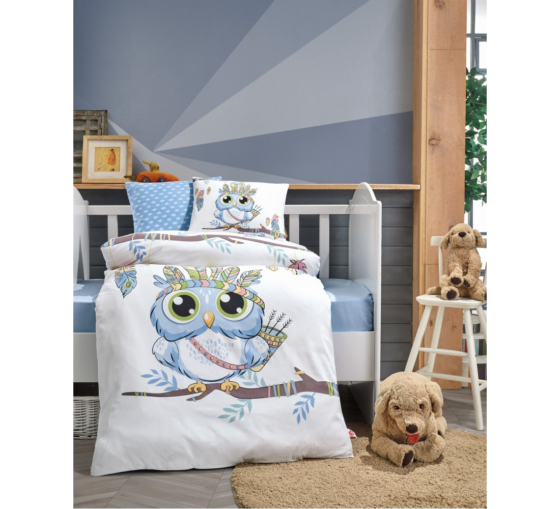 Cotton Box Baby Quilt Bedspread Single, Duvet Cover, Flat Sheet, Pillow Cover, Baby Room, Baby Gift, Girls and boys Owl Bluesi