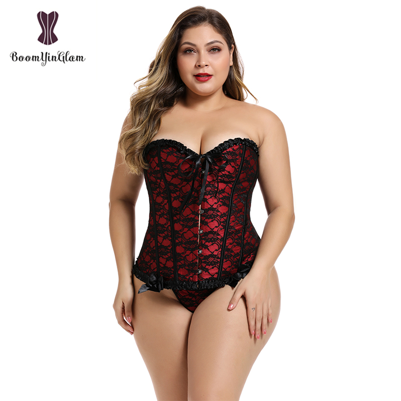Plus Size Lingerie Lace Up Boned Corselet Waist Trimmer Corsets And  Bustiers For Busty  Women 805#