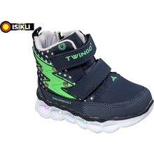 Captain Junior Male Baby Boots Navy Blue Green Pattern Orthopedic Soft Slip-Resistant Outsole Foot Suitable for Health Winter Seasons For