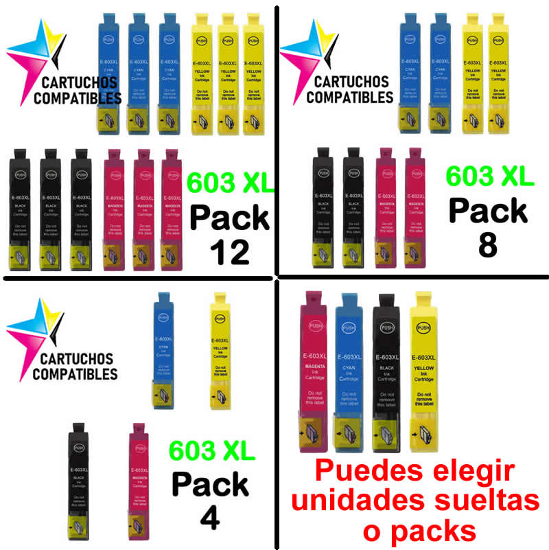 Epson 603XL 603 pack XL 12 compatible XP2100 XP2105 XP3100 XP3105 XP4100 XP4105 WF2830 WF2850 WF2835 WF-2830 WF-2850 WF-2835