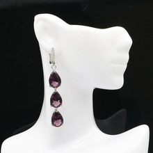 65x10mm 2019 New Designed Created Long Purple Amethyst Natural CZ Gift For Sister Silver Earrings