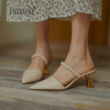 2020 Women New High Heel Slipper Gold Pointed Toe Slip On Slides Genuine leather