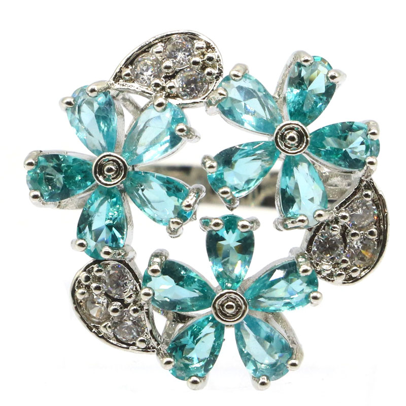 22x22mm Beautiful Flowers Shape Rich Blue Aquamarine White CZ Gift For Sister Silver Rings