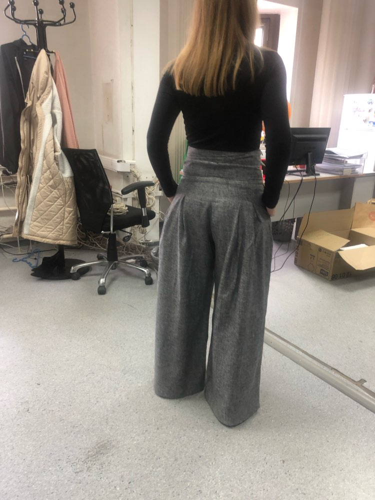 High Waist Self Belted Box Pleated Palazzo Pants Female Grey Loose Pants Elegant Ol Work Trousers Women Wide Leg Pants photo review