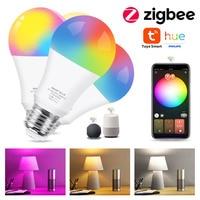 Zigbee-bombilla Led 3,0 RGB + WW + CW E27 para casa inteligente, Tuya, Compatible con Philips, Hue, Alexa, asistente de Amazon y Google