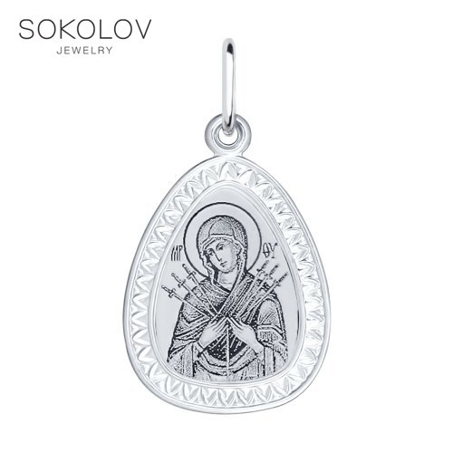 Silver Breeches Icon With A Face Of The Mother Of God Semistrelnaya SOKOLOV Fashion Jewelry Silver 925 Women's/men's, Male/female